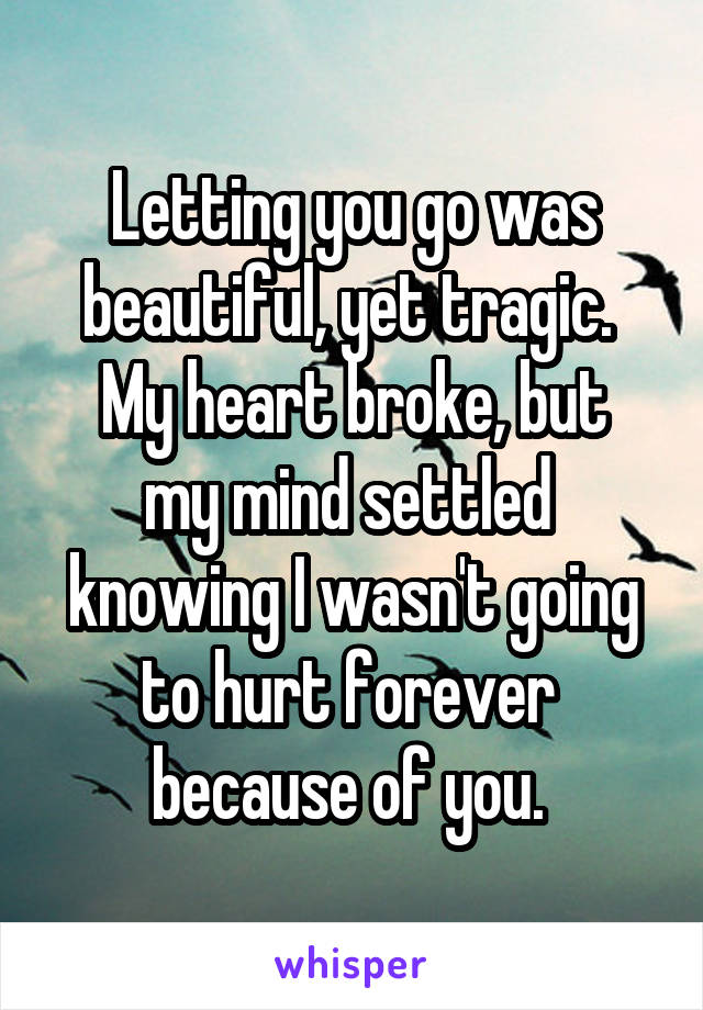 Letting you go was beautiful, yet tragic.  My heart broke, but my mind settled  knowing I wasn't going to hurt forever  because of you.