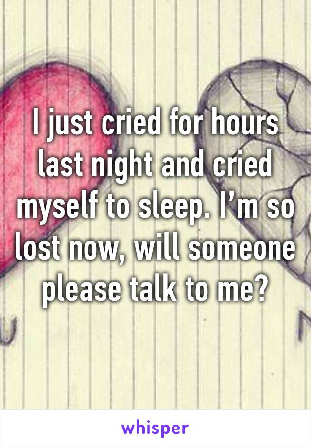 I just cried for hours last night and cried myself to sleep. I'm so lost now, will someone please talk to me?