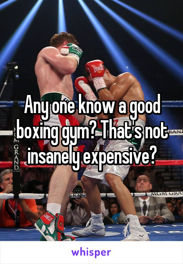 Any one know a good boxing gym? That's not insanely expensive?