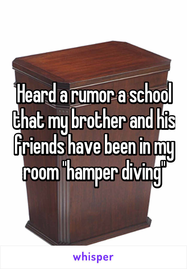 "Heard a rumor a school that my brother and his friends have been in my room ""hamper diving"""