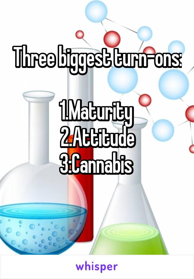 Three biggest turn-ons:  1.Maturity  2.Attitude 3:Cannabis