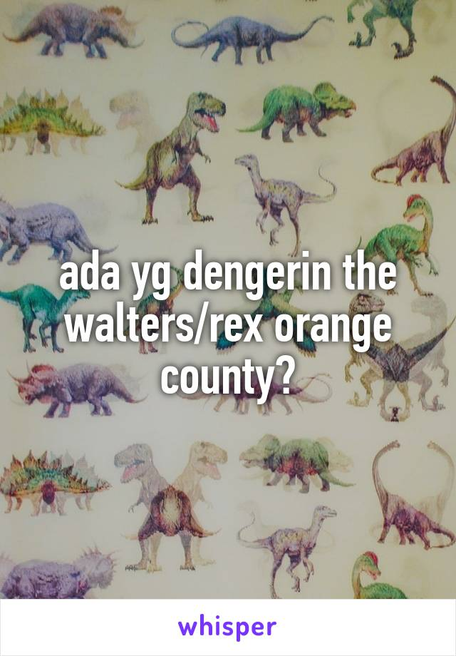 ada yg dengerin the walters/rex orange county?