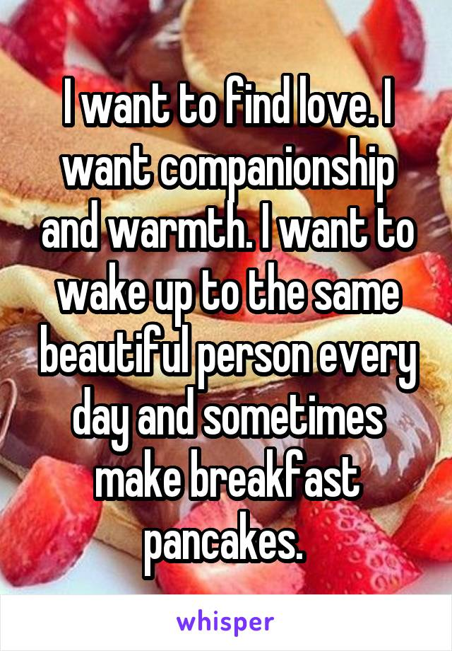 I want to find love. I want companionship and warmth. I want to wake up to the same beautiful person every day and sometimes make breakfast pancakes.