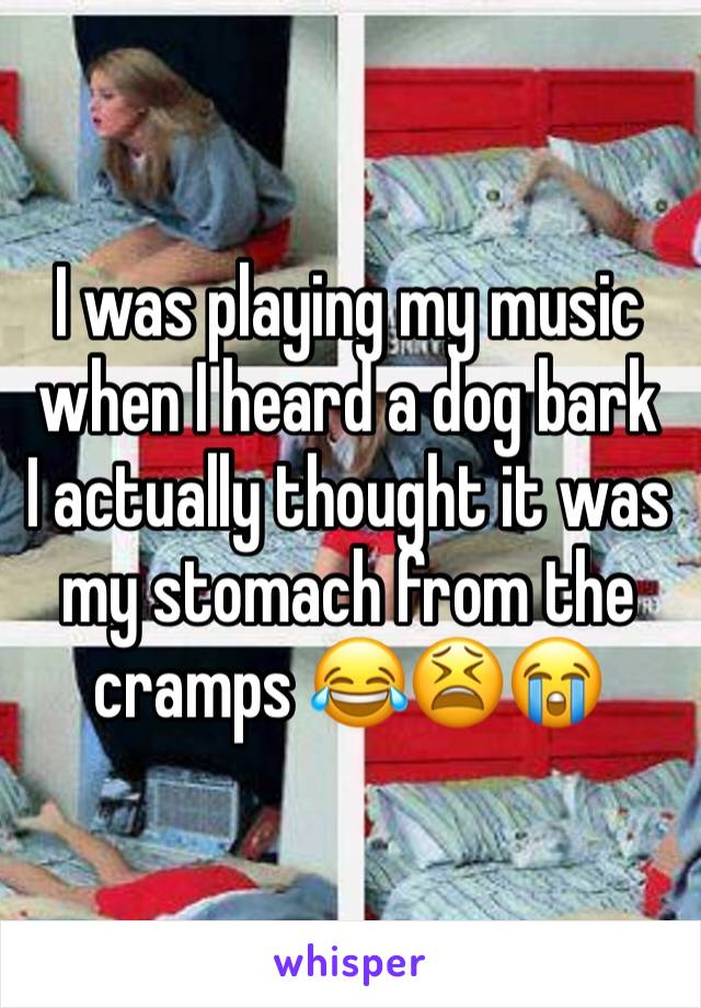 I was playing my music when I heard a dog bark  I actually thought it was my stomach from the cramps 😂😫😭