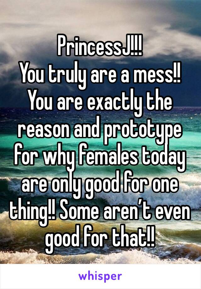 PrincessJ!!!  You truly are a mess!! You are exactly the reason and prototype for why females today are only good for one thing!! Some aren't even good for that!!