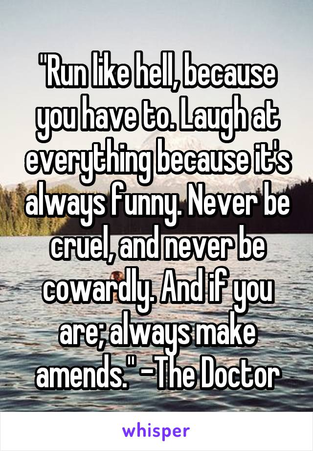 """""""Run like hell, because you have to. Laugh at everything because it's always funny. Never be cruel, and never be cowardly. And if you are; always make amends."""" -The Doctor"""