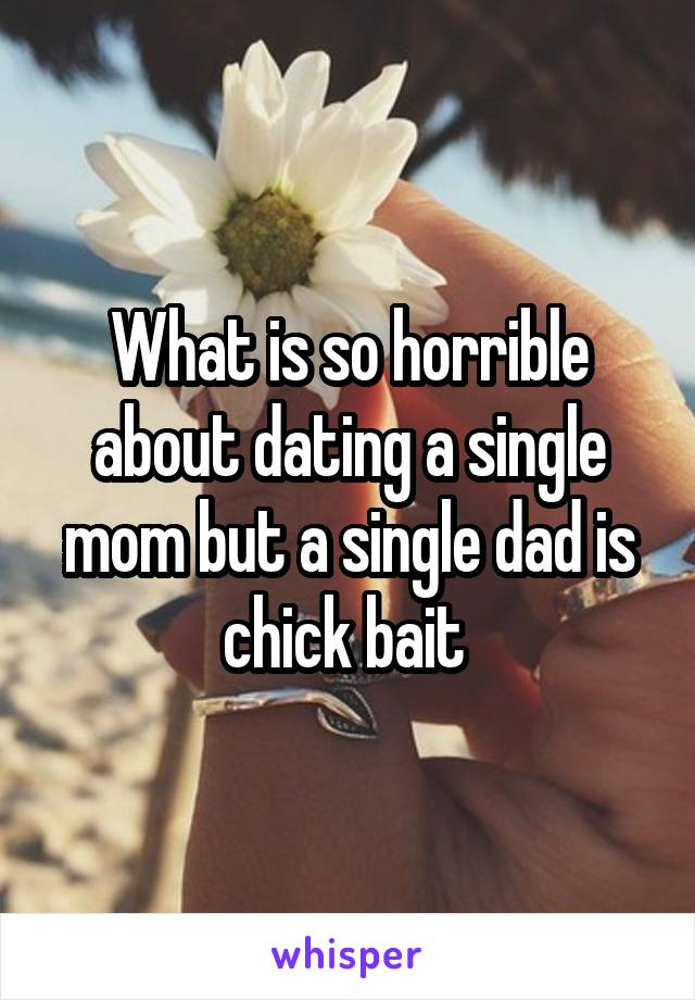What is so horrible about dating a single mom but a single dad is chick bait