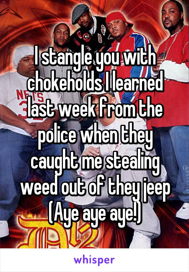 I stangle you with chokeholds I learned last week from the police when they caught me stealing weed out of they jeep (Aye aye aye!)