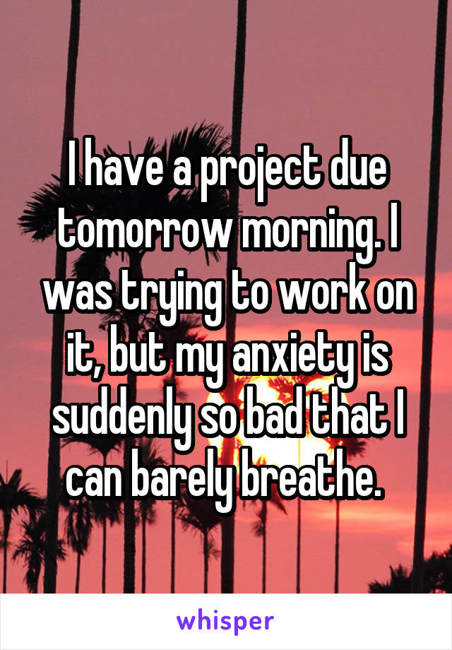 I have a project due tomorrow morning. I was trying to work on it, but my anxiety is suddenly so bad that I can barely breathe.