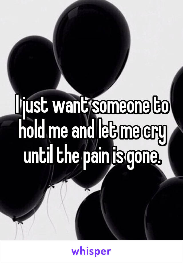 I just want someone to hold me and let me cry until the pain is gone.