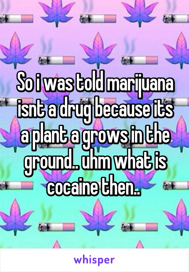 So i was told marijuana isnt a drug because its a plant a grows in the ground.. uhm what is cocaine then..