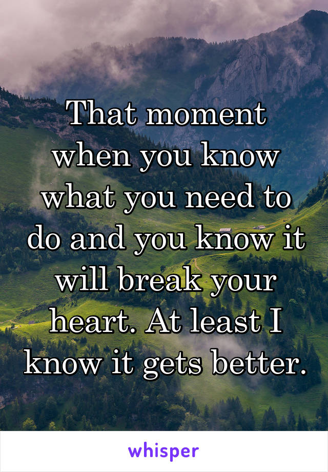 That moment when you know what you need to do and you know it will break your heart. At least I know it gets better.