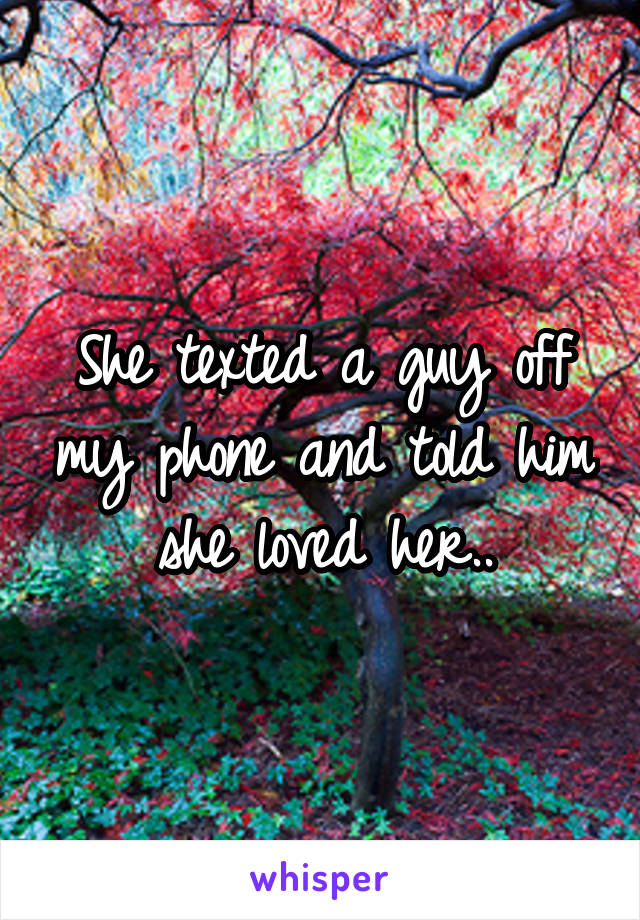 She texted a guy off my phone and told him she loved her..