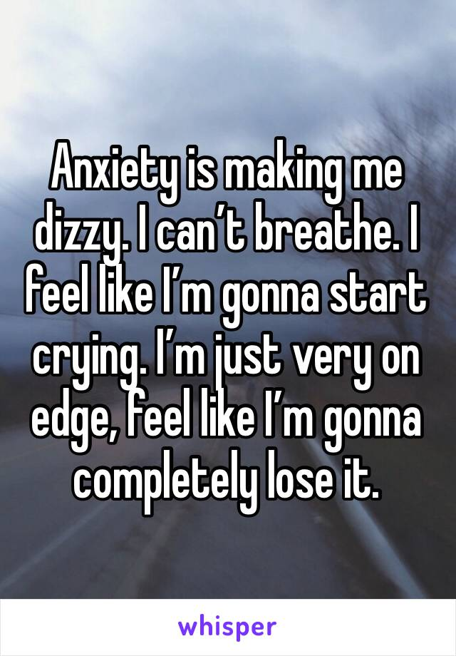 Anxiety is making me dizzy. I can't breathe. I feel like I'm gonna start crying. I'm just very on edge, feel like I'm gonna completely lose it.