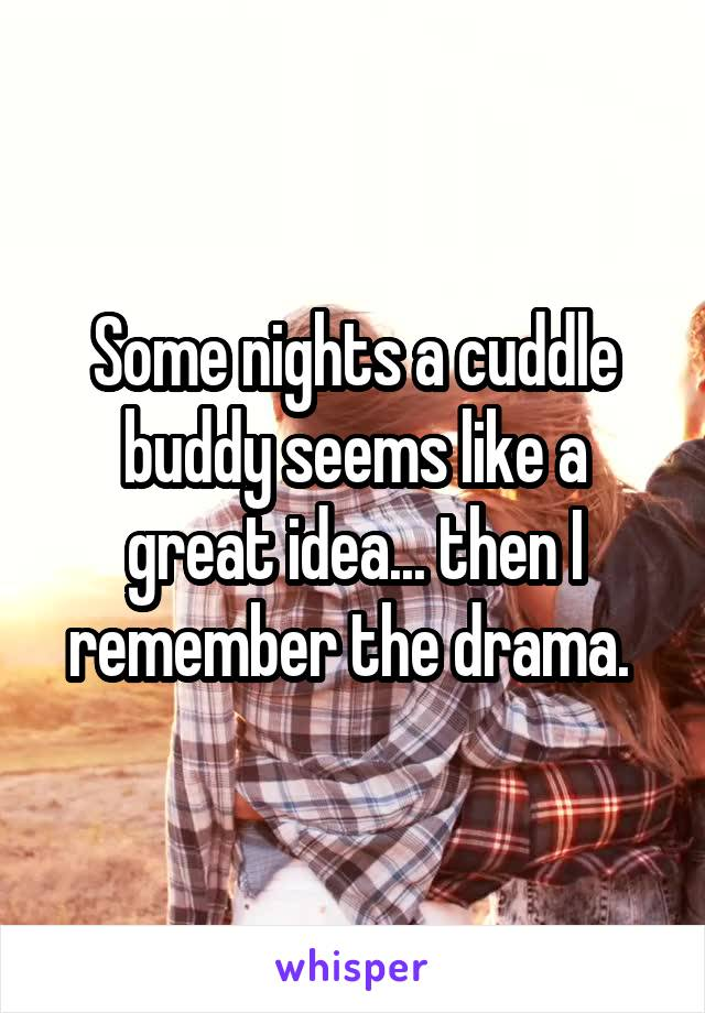 Some nights a cuddle buddy seems like a great idea... then I remember the drama.