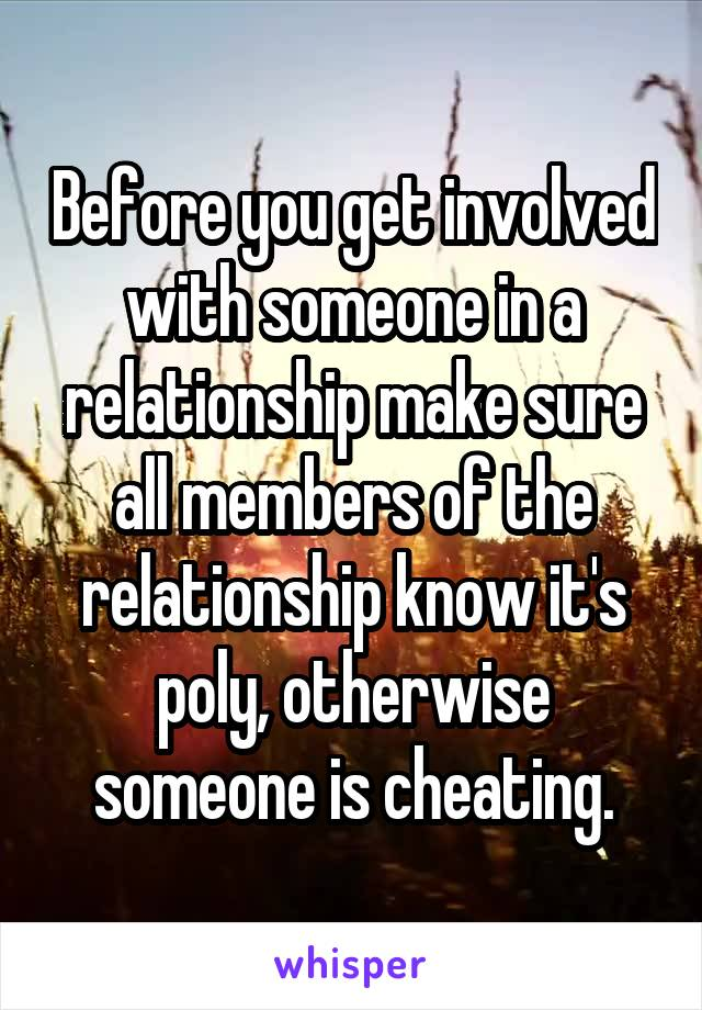 Before you get involved with someone in a relationship make sure all members of the relationship know it's poly, otherwise someone is cheating.