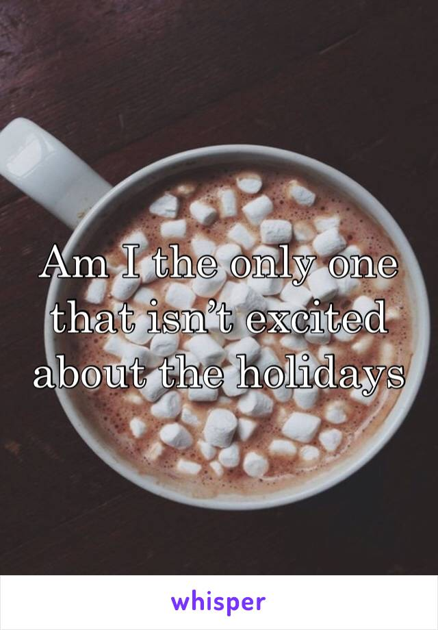 Am I the only one that isn't excited about the holidays