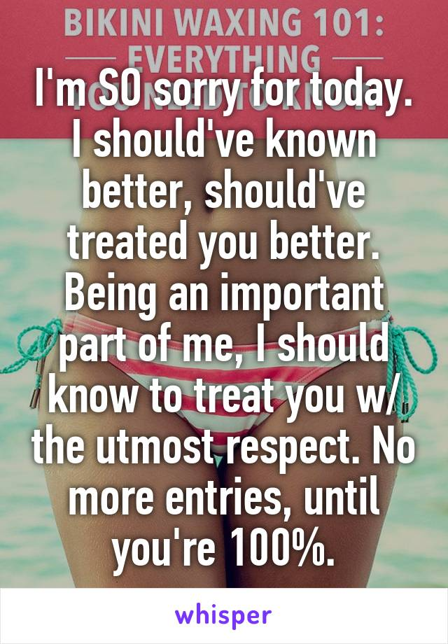 I'm SO sorry for today. I should've known better, should've treated you better. Being an important part of me, I should know to treat you w/ the utmost respect. No more entries, until you're 100%.
