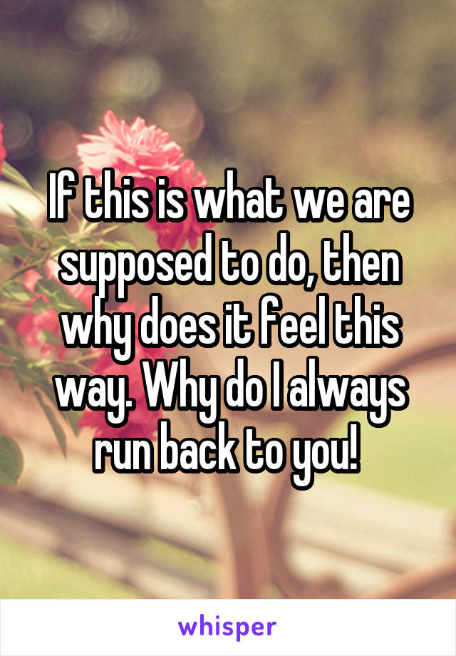 If this is what we are supposed to do, then why does it feel this way. Why do I always run back to you!