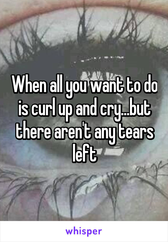 When all you want to do is curl up and cry...but there aren't any tears left