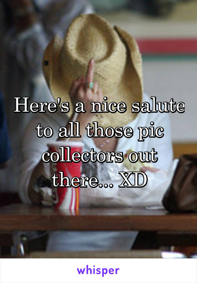 Here's a nice salute to all those pic collectors out there... XD