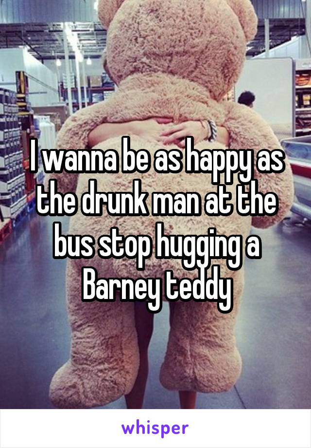 I wanna be as happy as the drunk man at the bus stop hugging a Barney teddy