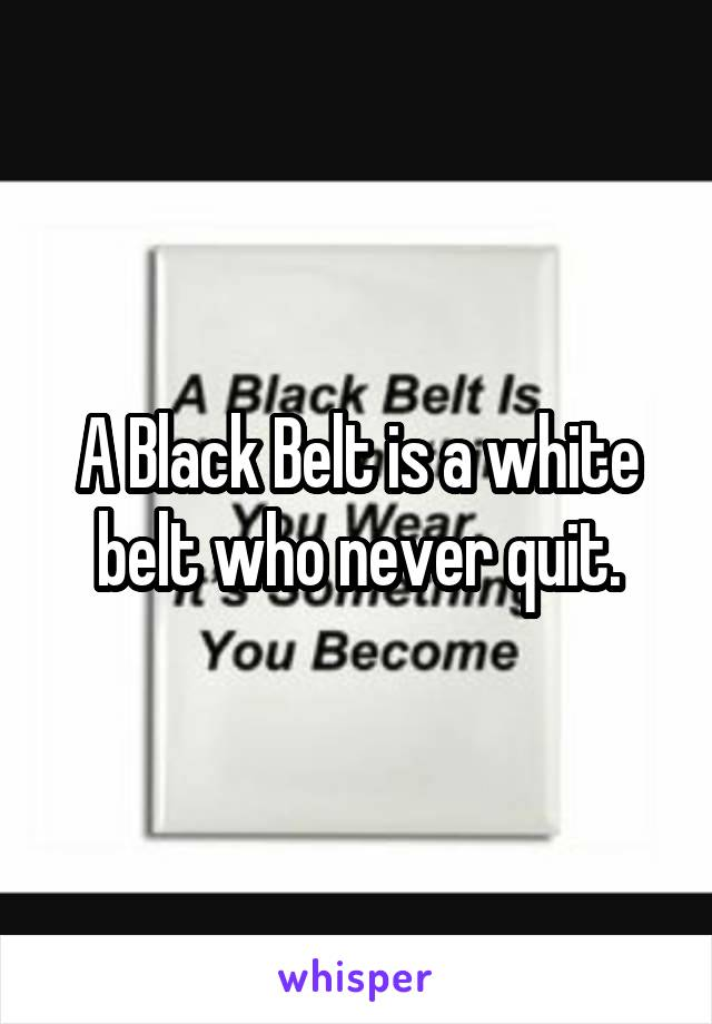 A Black Belt is a white belt who never quit.