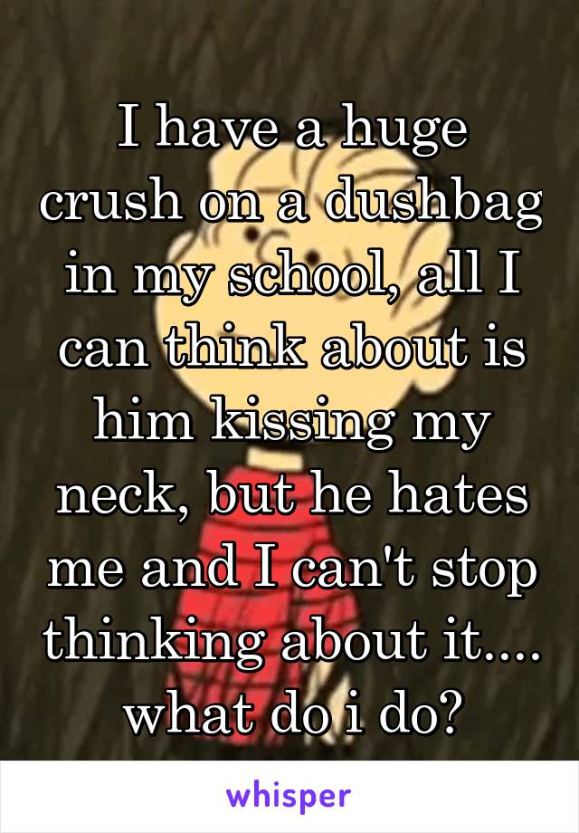 I have a huge crush on a dushbag in my school, all I can think about is him kissing my neck, but he hates me and I can't stop thinking about it.... what do i do?
