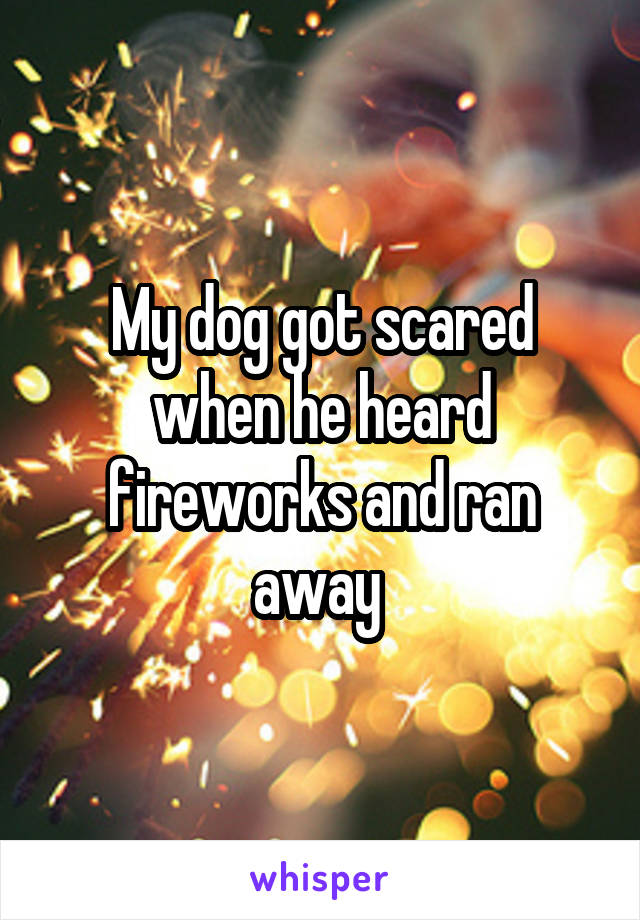 My dog got scared when he heard fireworks and ran away