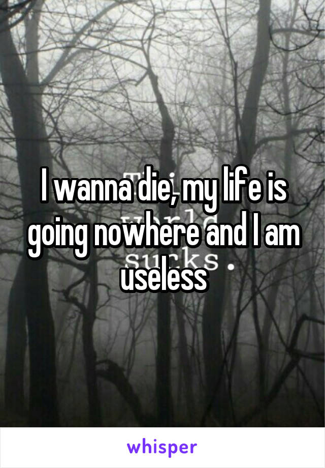 I wanna die, my life is going nowhere and I am useless