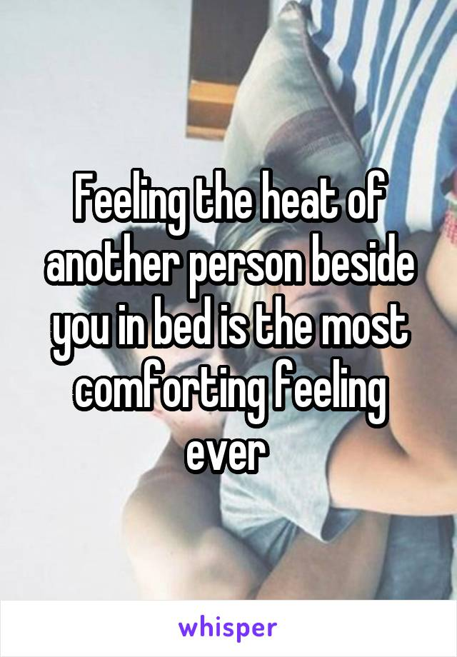 Feeling the heat of another person beside you in bed is the most comforting feeling ever