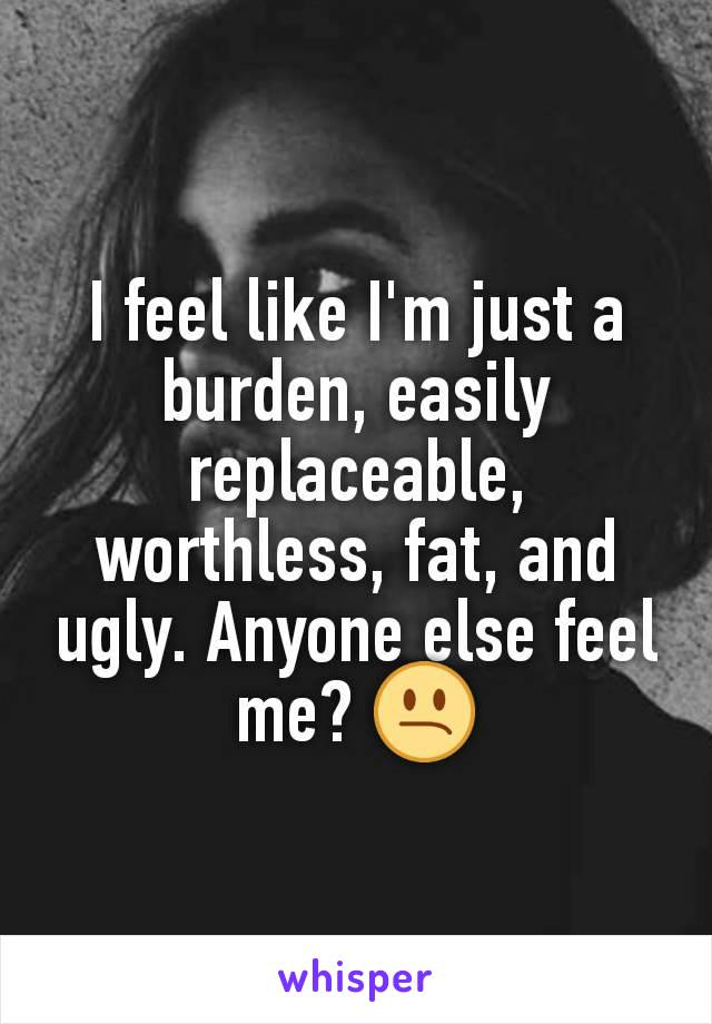 I feel like I'm just a burden, easily replaceable, worthless, fat, and ugly. Anyone else feel me? 😕