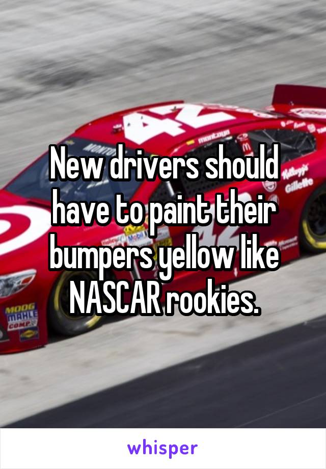 New drivers should have to paint their bumpers yellow like NASCAR rookies.
