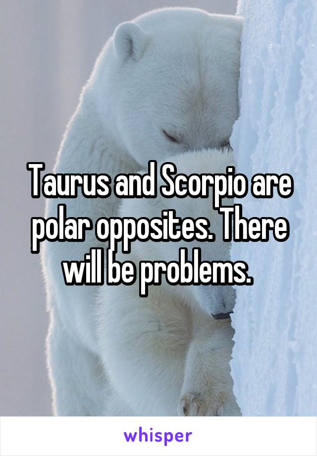 Taurus and Scorpio are polar opposites. There will be problems.