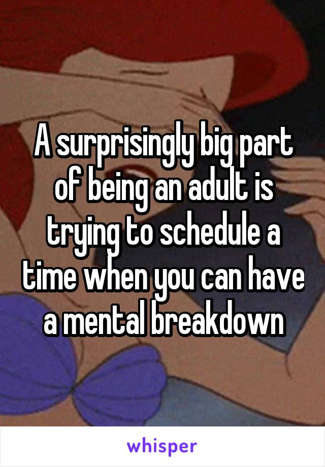A surprisingly big part of being an adult is trying to schedule a time when you can have a mental breakdown
