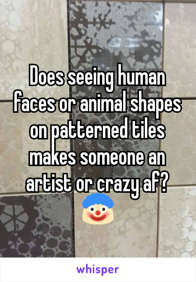 Does seeing human faces or animal shapes on patterned tiles makes someone an artist or crazy af? 🤡