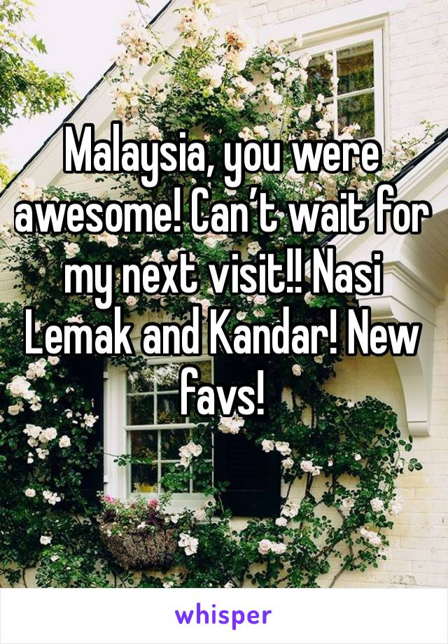 Malaysia, you were awesome! Can't wait for my next visit!! Nasi Lemak and Kandar! New favs!