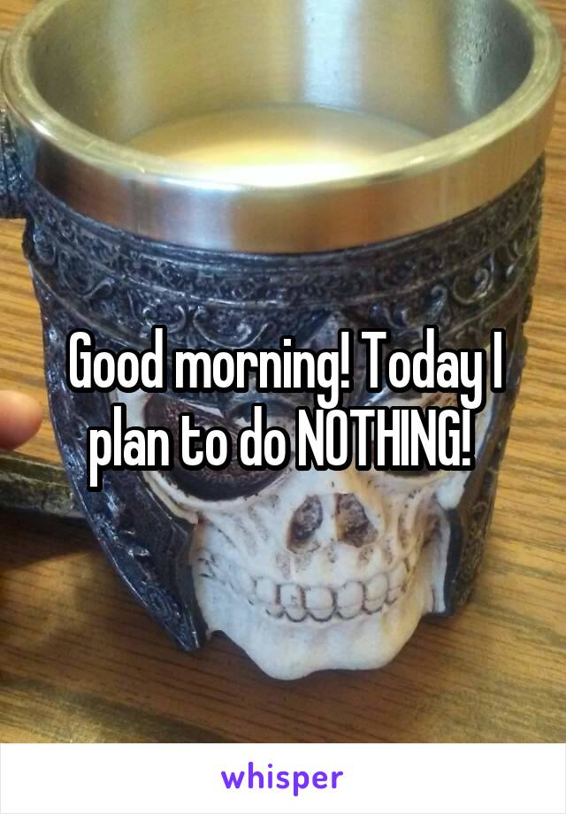 Good morning! Today I plan to do NOTHING!