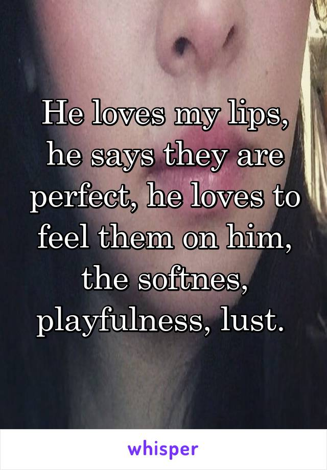 He loves my lips, he says they are perfect, he loves to feel them on him, the softnes, playfulness, lust.