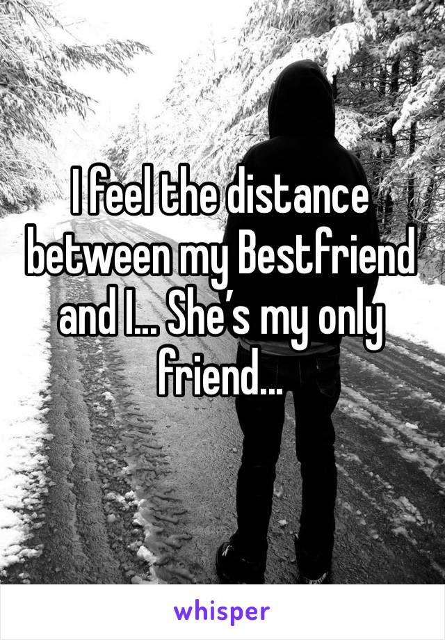 I feel the distance between my Bestfriend and I... She's my only friend...