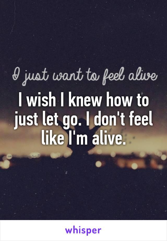 I wish I knew how to just let go. I don't feel like I'm alive.