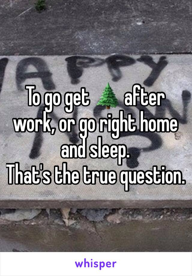 To go get 🌲 after work, or go right home and sleep.  That's the true question.