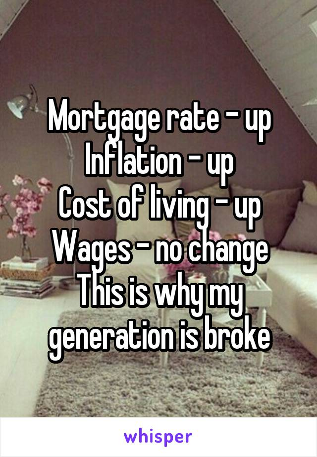 Mortgage rate - up Inflation - up Cost of living - up Wages - no change This is why my generation is broke