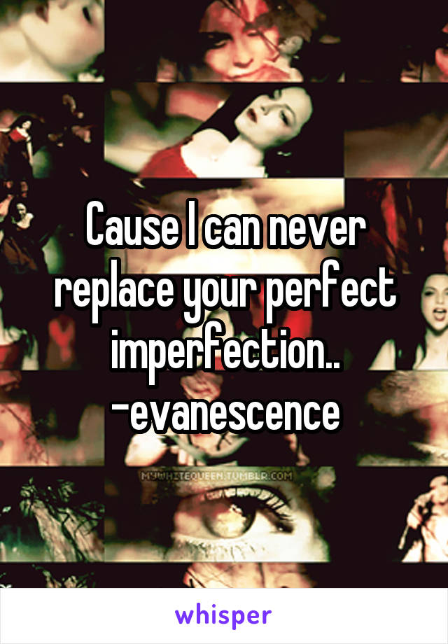 Cause I can never replace your perfect imperfection.. -evanescence
