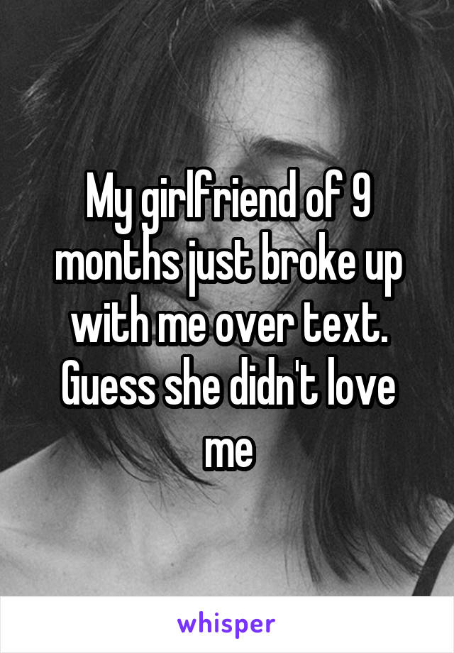 My girlfriend of 9 months just broke up with me over text. Guess she didn't love me