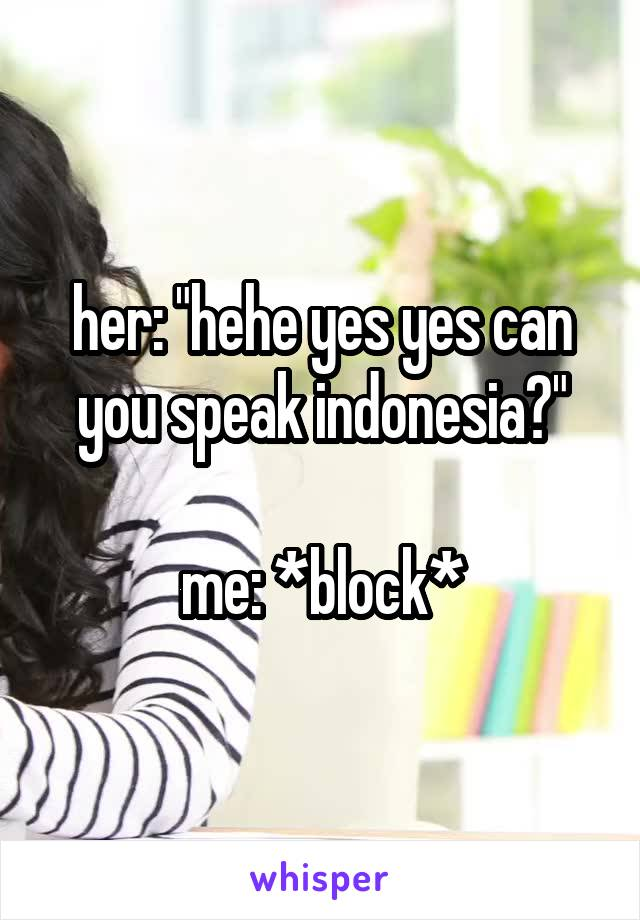 """her: """"hehe yes yes can you speak indonesia?""""  me: *block*"""