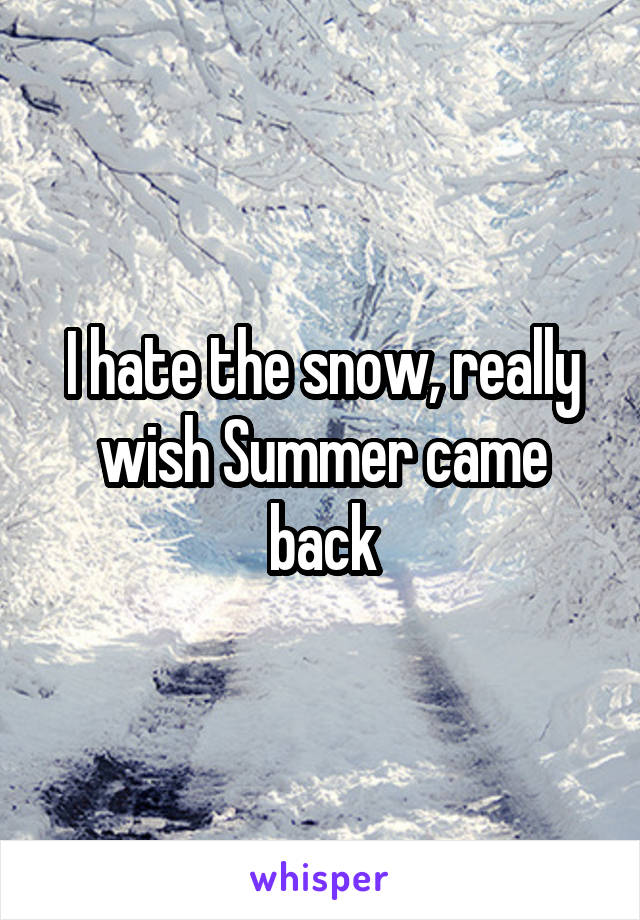 I hate the snow, really wish Summer came back