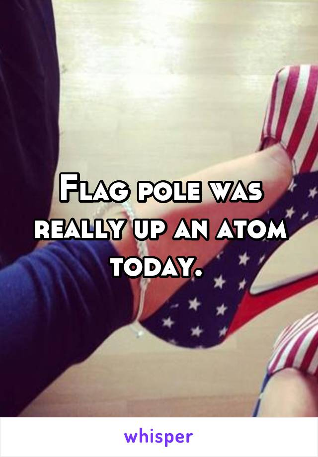Flag pole was really up an atom today.