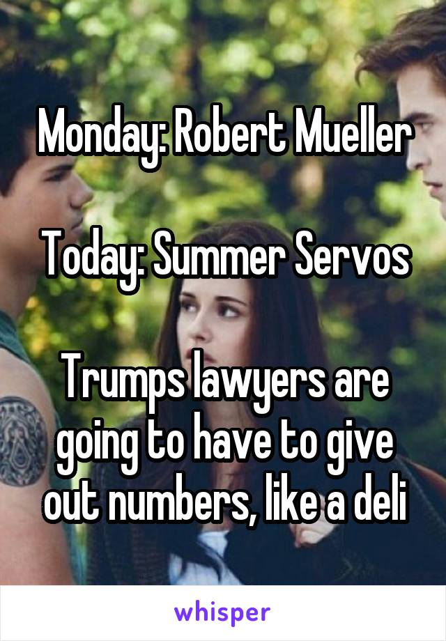 Monday: Robert Mueller  Today: Summer Servos  Trumps lawyers are going to have to give out numbers, like a deli