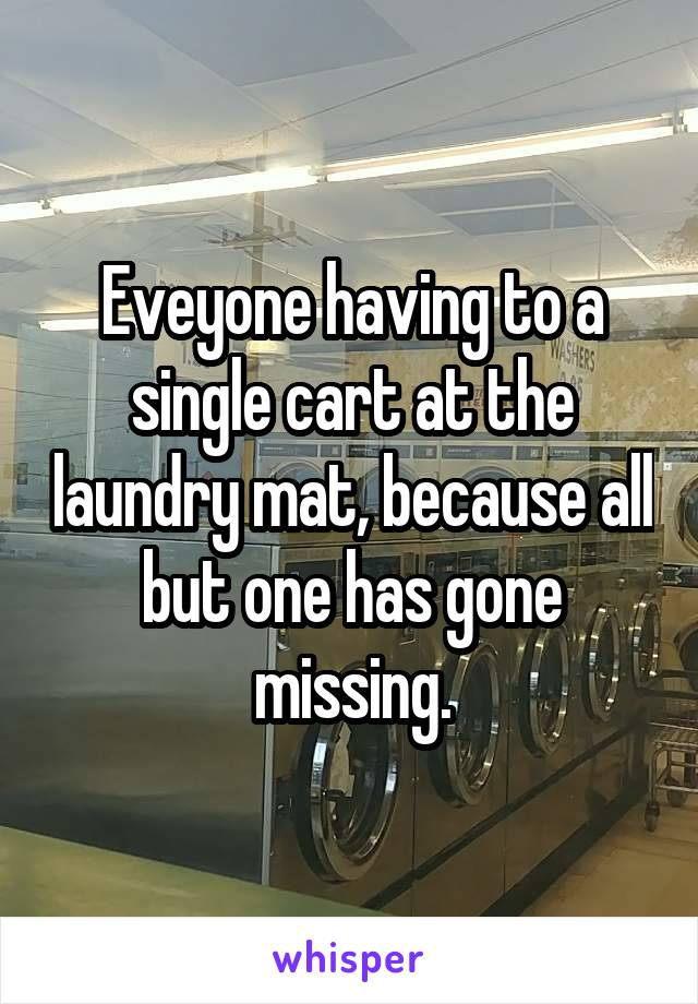 Eveyone having to a single cart at the laundry mat, because all but one has gone missing.